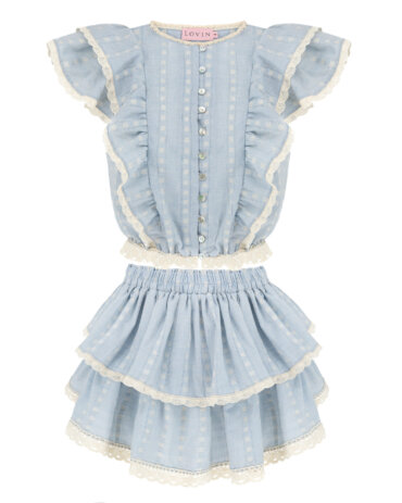 Beautiful cotton lace top in baby blue