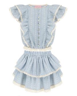 Spódnica z koronkowej bawełny w pięknym kolorze baby blue. Ekskluzywny top na lato