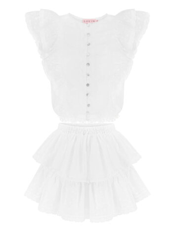 Przepiękna, dziewczęca, przyciągająca uwagę biała spódnica z bawełny, LOVIN
