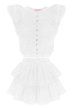 biały, ekskluzywny, koronkowy top z bawełny