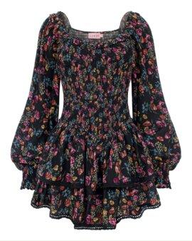 Piękna, czarna ekskluzywna sukienka z wiskozy w drobne, czarujące kwiatki. LOVIN