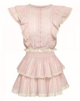 Zwiewna, piękna spódniczka na lato z falbankami, w kolorze baby pink. LOVIN