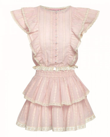Flowing, beautiful skirt for summer with frills, in baby pink. LOVIN