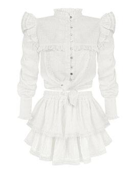 Biała koronkowa spódniczka z falbankami