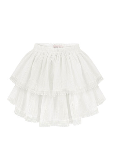 White lace skirt with frills