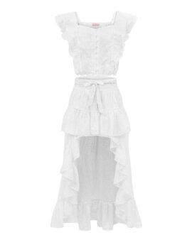 Przepiękna, przyciągająca uwagę biała spódnica z bawełny, LOVIN