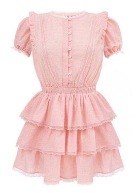 Różowa sukienka z falbankami na lato z pięknej, różowej bawełny, LOVIN