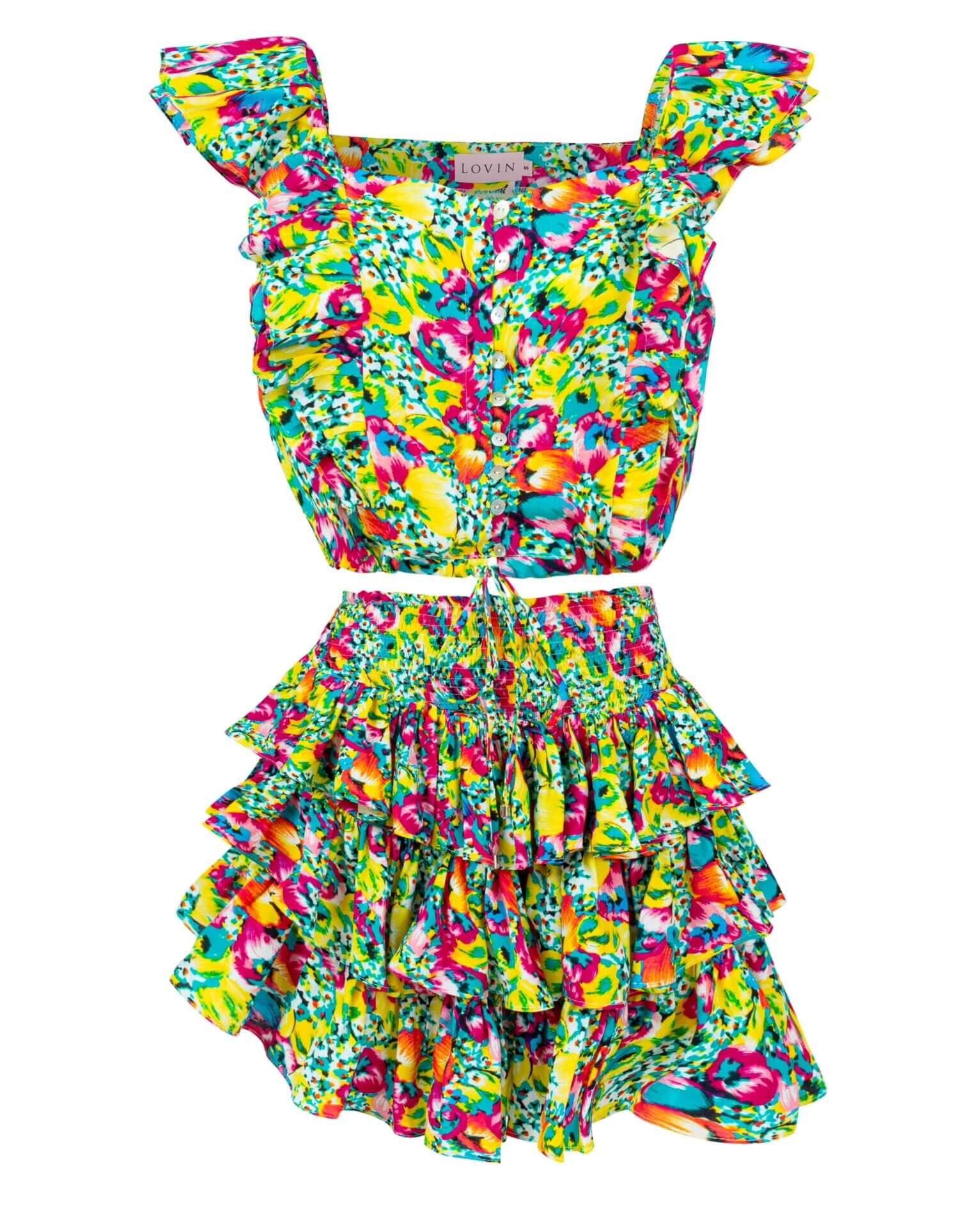 Przepiękna, kolorowa spódnica z wiskozy w piękne, kolorowe kwiaty. Marszczone falbanki dodają spódniczce uroku. LOVIN