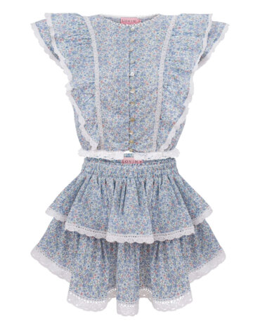 Beautiful blue floral lace skirt in a lovely touch cotton. LOVIN