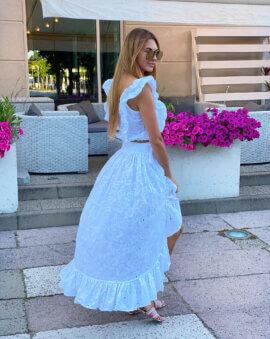 Piękna, biała spódnica, wyróżniająca się niezwykłym krojem Alice Long White