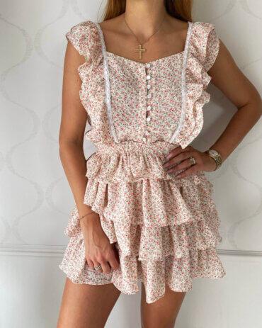 Przepiękne falbanki, wiosenny styl, kwiecisty print sukienki ALICE