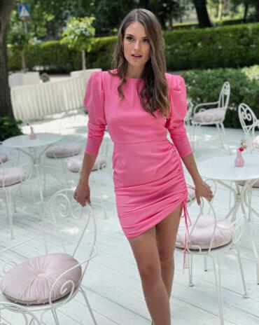 Przepiękna, jedwabna sukienka mini / midi w kolorze intensywnego różu