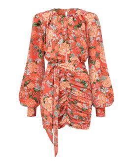 Piękna i powabna sukienka na jesień w cudne, letnie kwiaty